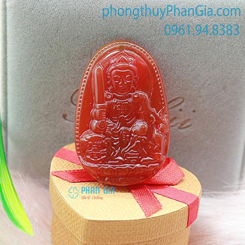 Phật Bản Mệnh Văn Thù Bồ Tát Đá Mã Não Đỏ Dành Cho Tuổi Mão