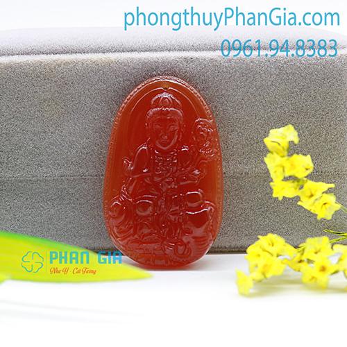 Mặt Phật Phổ Hiền Bồ Tát Mã Não Đỏ