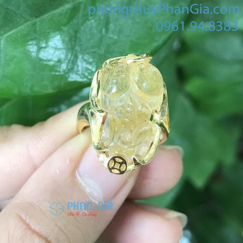 Mặt Nhẫn Tỳ Hưu Thạch Anh Tóc Vàng (chưa bao gồm bọc vàng 18k)