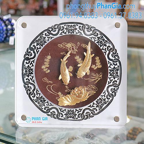 Tranh Cá Chép Vàng Hoa sen 18x18