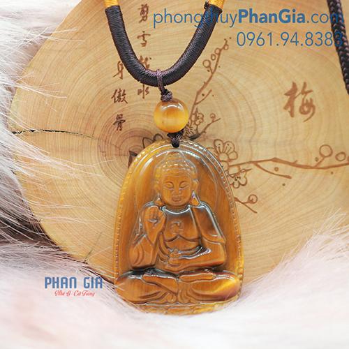 Mặt Phật A Di Đà Thạch Anh Mắt Hổ Nâu