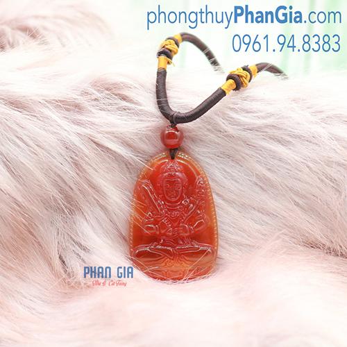 Mặt Phật Hư Không Tạng Bồ Tát Mã Não Đỏ