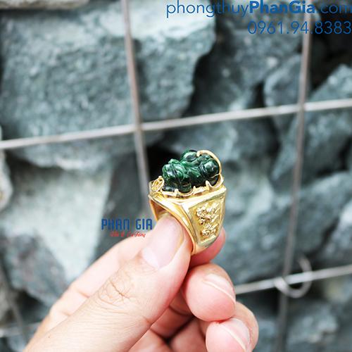 Nhẫn Tỳ Hưu Ngọc Nam ( Chưa bao gồm bọc vàng 18k)